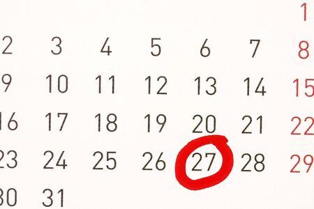 circled: fecha en c�rculos en un calendario de concepto para el nombramiento
