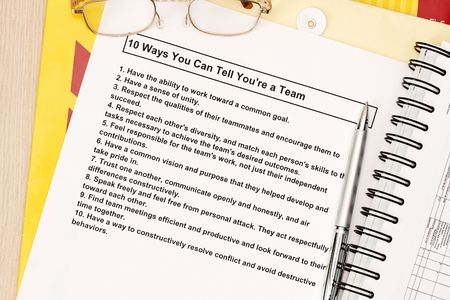 manila envelop: 10 ways you can tell youre a team concept Stock Photo