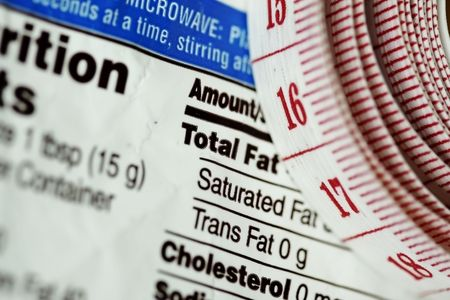 mandated: Red tape measure next to nutrition information on packaging