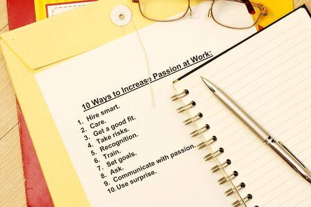 manila envelop: Ten ways to increase passion at work  Stock Photo