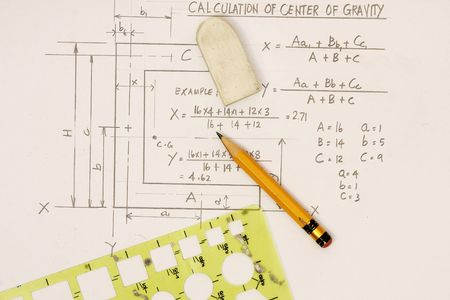 gravity: Center of Gravity Calculation  Stock Photo