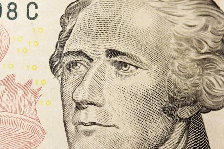 Macro photo of Ten dollar bill  with Hamilton Stock Photo - 5514035
