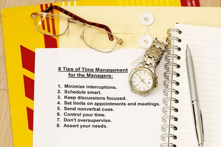 manila envelop: Eight tips for time management for managers -  concept for company human resources.