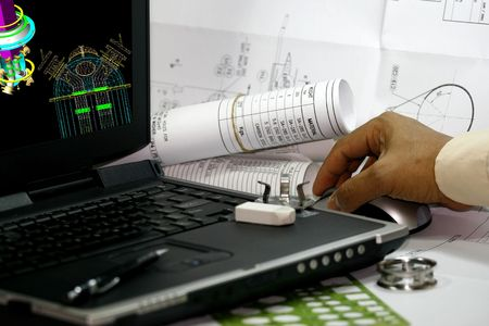draftsman: 3d modeling of pressure vessel- computer aided design. Stock Photo