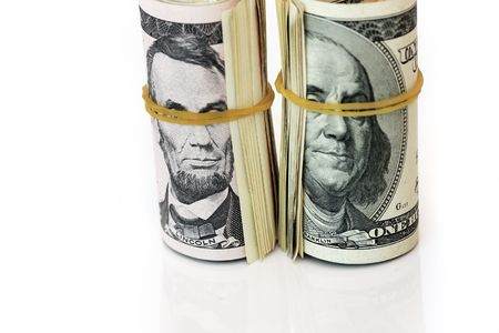 blindfolded: Blindfolded dollar images- concept for blind economy. Stock Photo