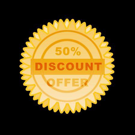 Gold seal 50% discount offer- illustration high resolution and digital. illustration
