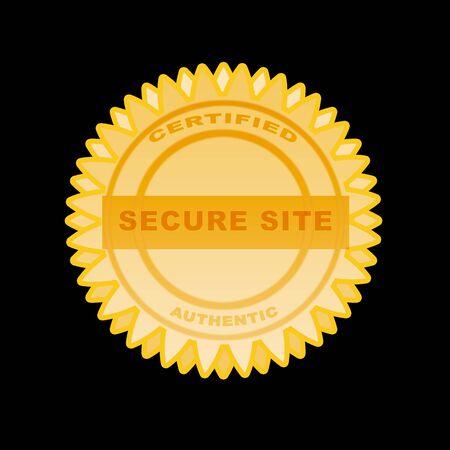 Gold seal sitte safe concept- illustration high resolution and digital. illustration