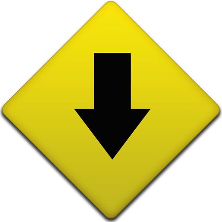 black arrow pointing down on a yellow road sign photo