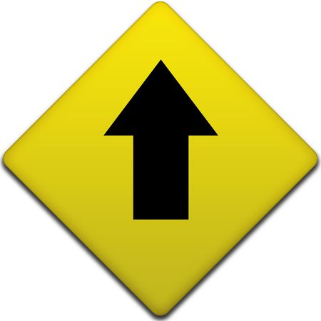 black arrow pointing up on a yellow road sign photo