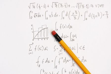 derivation: Newtons Integral calculus calculation - many uses in the education industry. Stock Photo
