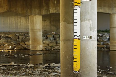 depth measurement: Lake water depth meter with measuring marks Stock Photo