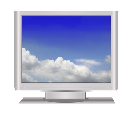 telecast: an isolated in white - lcd television illustration digital high resolution.