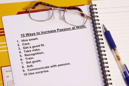 manila envelop: Ten ways to increase passion at work concept.