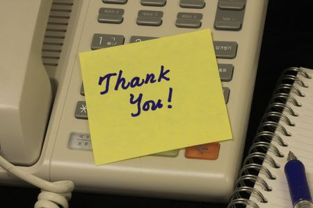 Thank you message in a yellow note. Stock Photo - 5823268