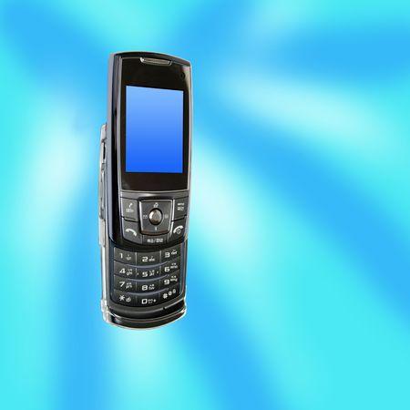 Cellphone latest model in light blue background photo