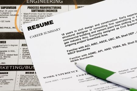 Jobs in the newspaper concept - with resume and a  classified ads. Stock Photo - 5869408