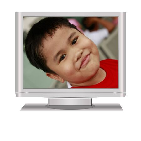 telecast: Boy in an isolated  lcd television illustration digital high resolution.