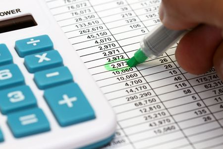 spread sheet: Reviewing the accounts on a printed spread sheet.