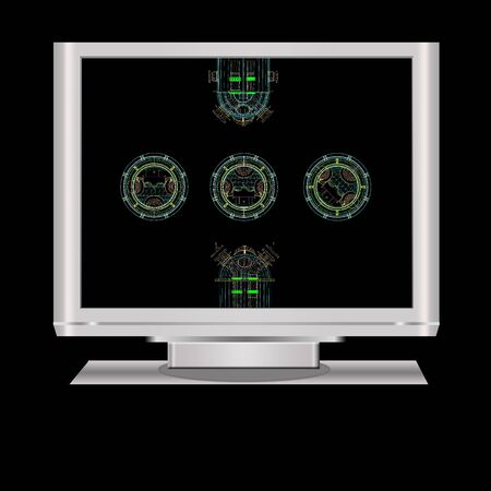 draftsman: an isolated  lcd television illustration digital high resolution with model of pressure vessel. Note: 3d model in the monitor is my original works.