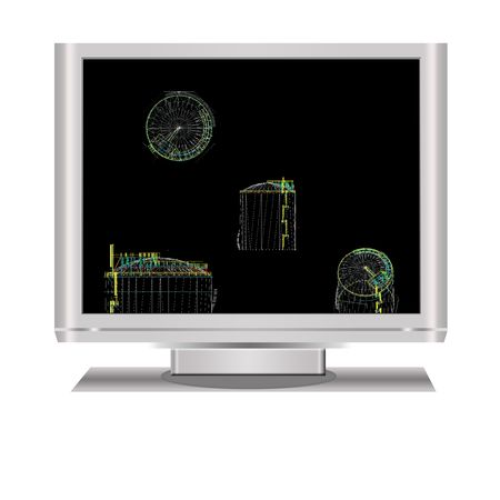 storage tank: design of  storage tank with  isolated  lcd television illustration digital high resolution. Stock Photo