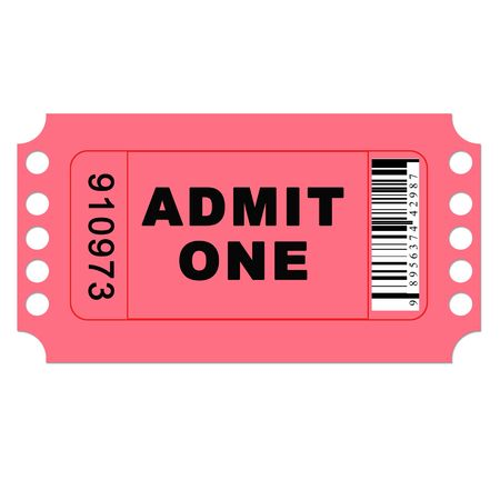 admit one: Isolated admit one pink ticket on a white background with barcode.