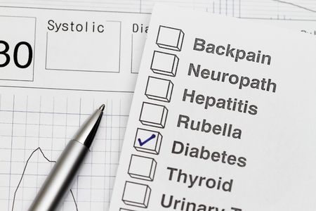 rubella: close-up of a medical examination report with graph Stock Photo