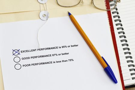 Performance Survey  with training materials like envelope,spiral notebook and ballpen. Stock Photo - 6103458