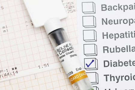 medical field: Medical Syringe with result - many uses in medical field. Stock Photo