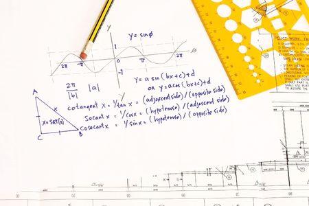 computations: Trigonometric computations on an engineering drawing. Stock Photo