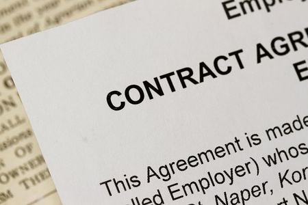 Macro Closeup of an employment Contract photo