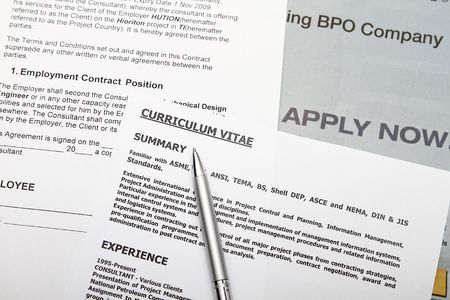 Curriculum vitae with fiction data employment contract. Stock Photo - 6346156