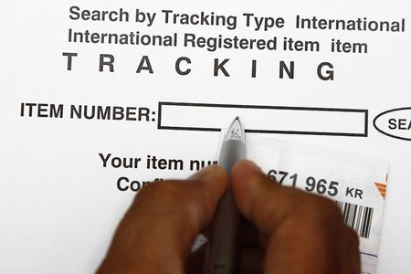 Search for the mail by entering the ttracking number concept. Stock Photo - 6346163