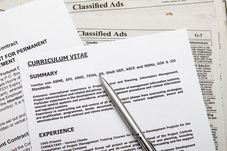 Curriculum vitae with employment contract found on classified ads. Stock Photo - 6346165