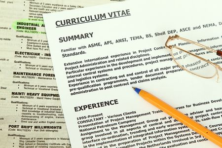 Curriculum Vitae  Form  beside classified ads with engineer highlighted. Stock Photo - 6346174