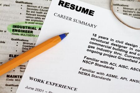 close up of resume form with ads concept for unemployment. Stock Photo - 6346183