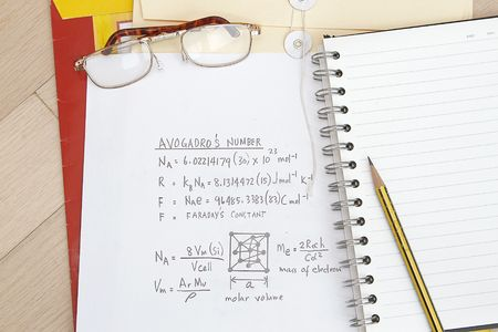 quickness: Avogadros Number and Formula advanced math equation. energy, equation, education. Stock Photo