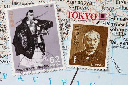 kabuki: Japan mail postage stamp with a kabuki warrior. Stock Photo