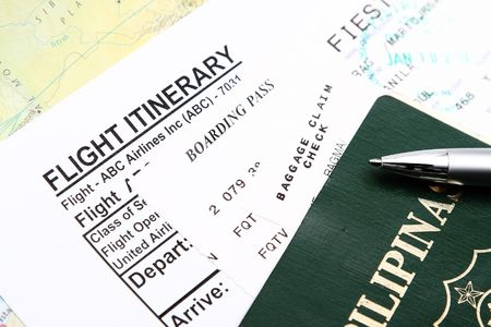 itinerary: Passport And Boarding Pass with itinerary ticket