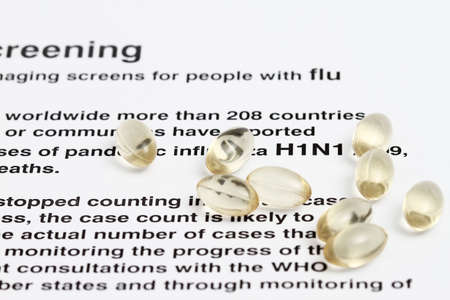 Conceptual view of H1N1 virus with capsules. photo