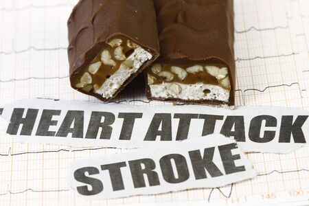 Heart pulse with chocolate - concept for health concious. Stock Photo - 6576197