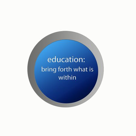 knowledgeable: Button with education text embossed - illustration digital.