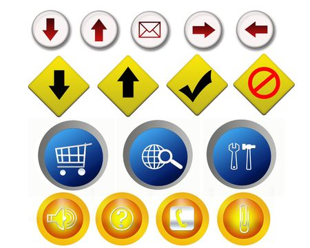 Many kinds of buttons illustration - many uses in the internet, websites and templates. illustration