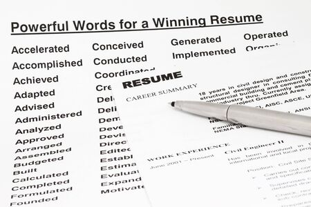 Powerful words for winning a resume- manu uses for employment sector. photo