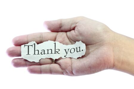 thank you card: Thank you or thanks concept with hand word and paper.