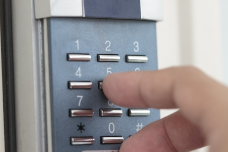 authorize: Opening the door with number combination  Stock Photo