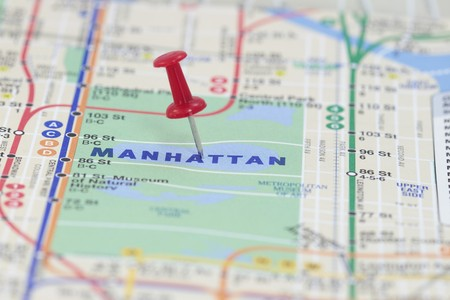 A red Push Pin in Manhattan New York photo