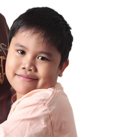 pinoy: Boy embracing his mother concept with white background.