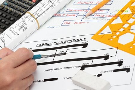 fabrication: Fabrication schedule - concept for project start and completion Stock Photo