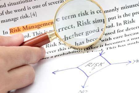 determine: Determine whether to take the risk or not concept Stock Photo