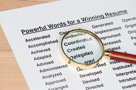 Powerful words for winning a resume concept Stock Photo - 7720039